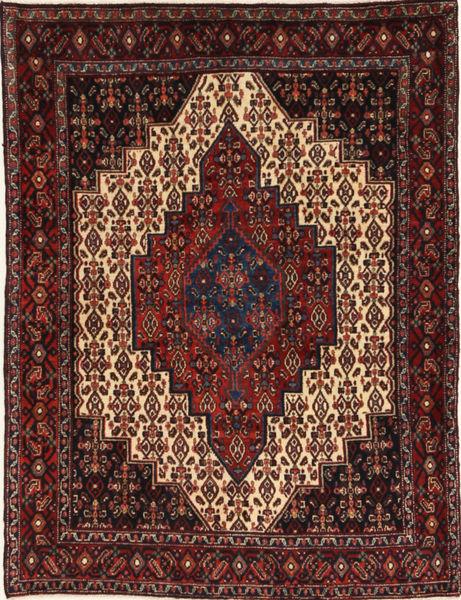 Senneh Matto 125X160 Itämainen Käsinsolmittu Tummanpunainen/Tummanruskea (Villa, Persia/Iran)