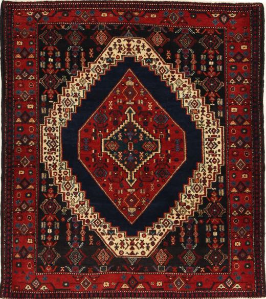 Senneh Tapis 127X145 D'orient Fait Main Marron Foncé/Rouge Foncé (Laine, Perse/Iran)