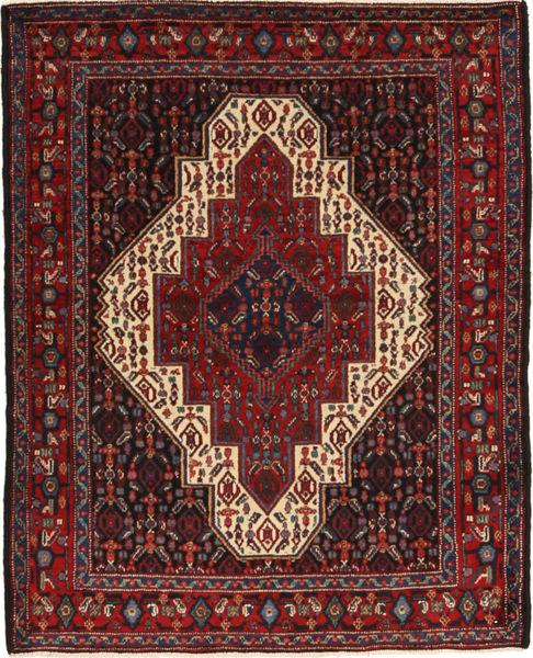 Senneh Tapis 120X154 D'orient Fait Main Rouge Foncé/Noir (Laine, Perse/Iran)