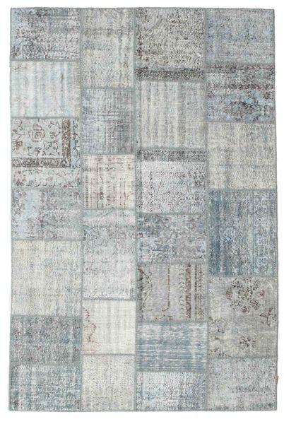 Patchwork Tapis 198X300 Moderne Fait Main Gris Clair/Beige (Laine, Turquie)