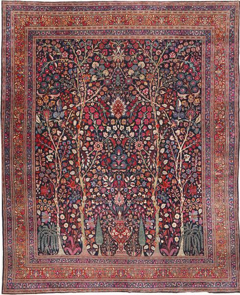 Mashad Teppe 338X416 Ekte Orientalsk Håndknyttet Mørk Lilla/Lyselilla Stort (Ull, Persia/Iran)