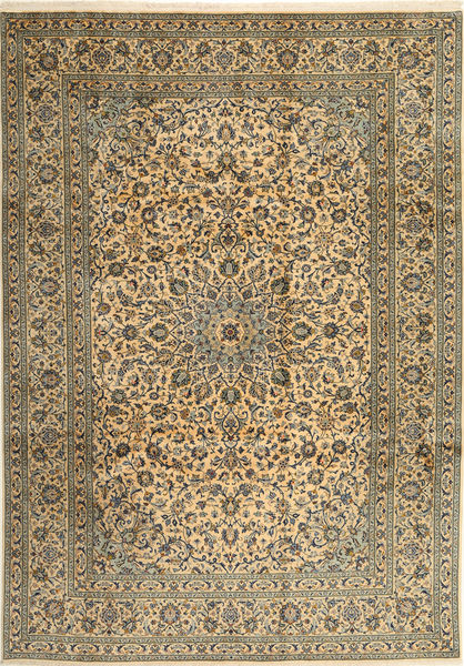 Keshan Rug 253X358 Authentic  Oriental Handknotted Olive Green/Light Brown Large (Wool, Persia/Iran)