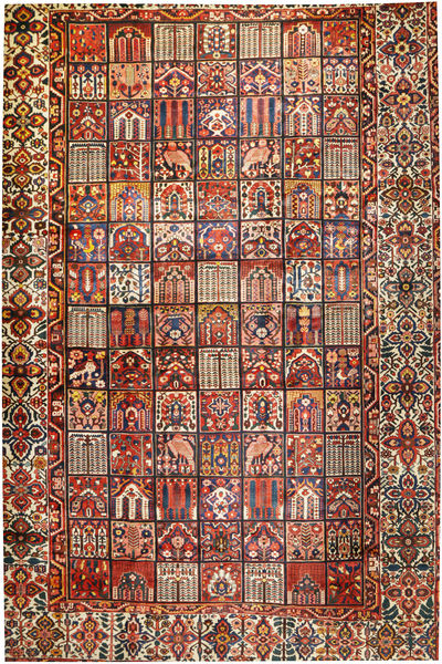 Bakhtiari Rug 374X570 Authentic  Oriental Handknotted Dark Blue/Dark Red Large (Wool, Persia/Iran)