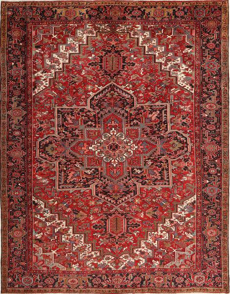 Heriz Dywan 293X380 Orientalny Tkany Ręcznie Ciemnoczerwony/Brązowy Duży (Wełna, Persja/Iran)