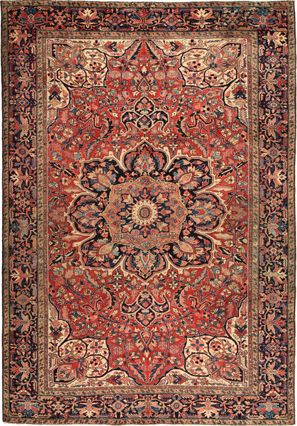 Heriz Matto 256X366 Itämainen Käsinsolmittu Tummanpunainen/Vaaleanruskea Isot (Villa, Persia/Iran)