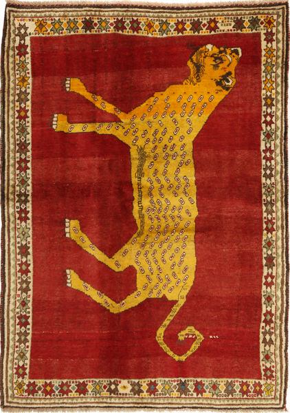 Ghashghai Koberec 131X188 Orientální Ručně Tkaný Červenožlutá/Světle Hnědá (Vlna, Persie/Írán)