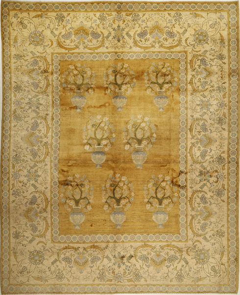 Gabbeh Persia Matto 326X403 Moderni Käsinsolmittu Oliivinvihreä/Keltainen Isot (Villa, Persia/Iran)