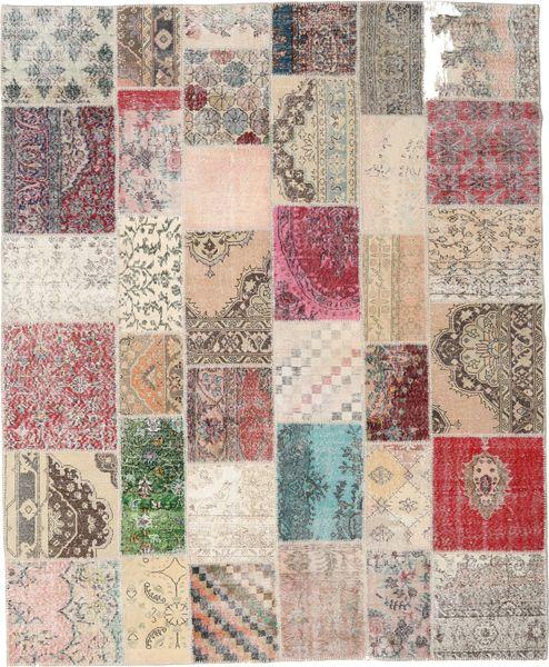 Patchwork Tapis 246X300 Moderne Fait Main Gris Clair/Beige (Laine, Turquie)