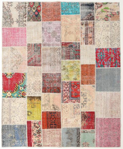 Patchwork Matto 244X298 Moderni Käsinsolmittu Vaaleanharmaa/Vaaleanpunainen (Villa, Turkki)