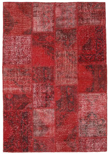 Patchwork Dywan 137X200 Nowoczesny Tkany Ręcznie Ciemnoczerwony/Czerwony (Wełna, Turcja)