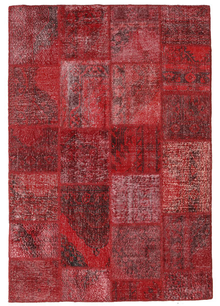 Patchwork Matto 159X232 Moderni Käsinsolmittu Tummanpunainen/Punainen (Villa, Turkki)