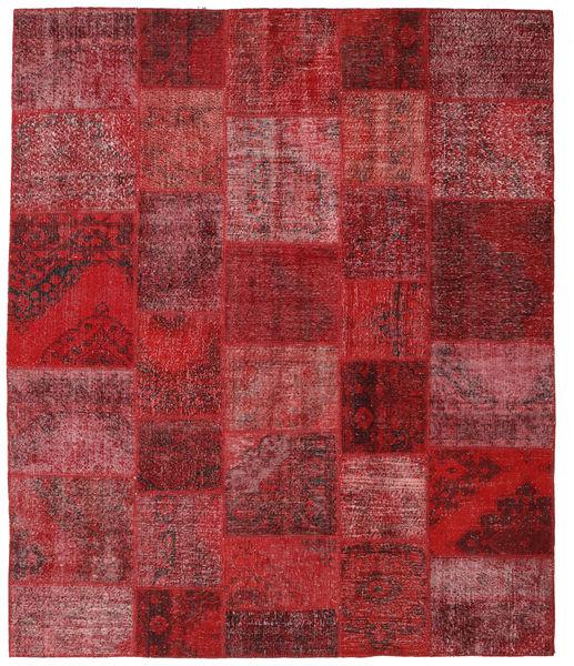 Patchwork Matto 247X295 Moderni Käsinsolmittu Tummanpunainen/Punainen (Villa, Turkki)
