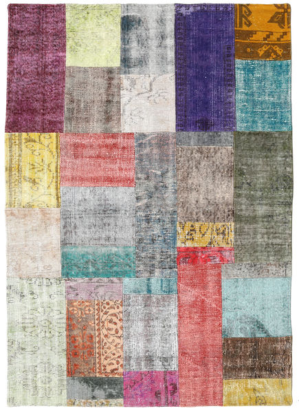 Patchwork Rug 142X200 Authentic  Modern Handknotted Pink/Light Grey (Wool, Turkey)