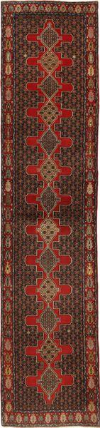 Senneh Dywan 96X430 Orientalny Tkany Ręcznie Chodnik Ciemnobrązowy/Ciemnoczerwony (Wełna, Persja/Iran)