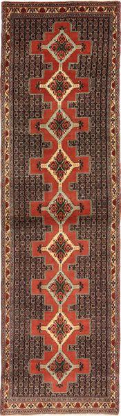 Senneh Vloerkleed 90X345 Echt Oosters Handgeknoopt Tapijtloper Donkerrood/Bruin (Wol, Perzië/Iran)