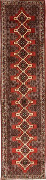 Senneh Tapis 92X400 D'orient Fait Main Tapis Couloir Marron Foncé/Rouge Foncé (Laine, Perse/Iran)