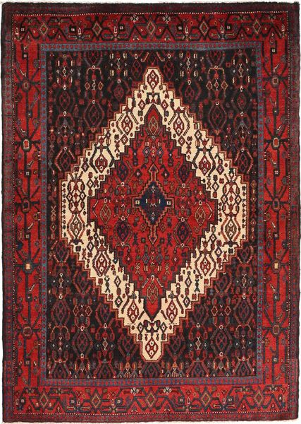 Senneh Szőnyeg 122X171 Keleti Csomózású Sötétpiros/Sötétbarna (Gyapjú, Perzsia/Irán)