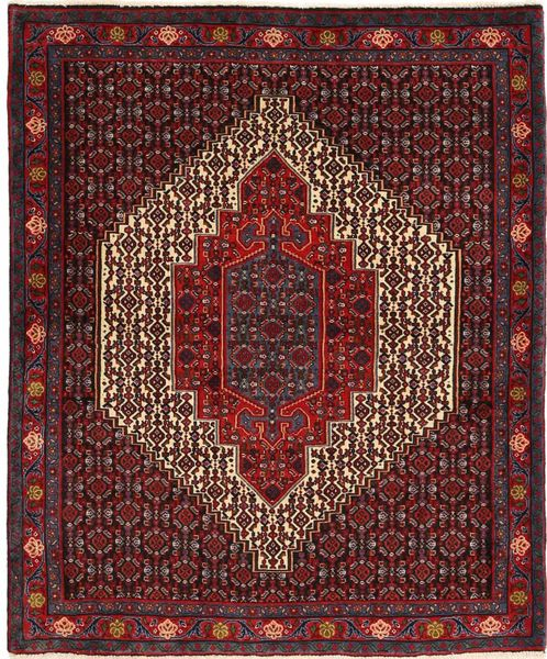 Senneh Χαλι 125X148 Ανατολής Χειροποιητο Σκούρο Κόκκινο/Σκούρο Καφέ (Μαλλί, Περσικά/Ιρανικά)
