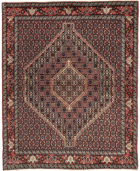 Senneh Alfombra 125X154 Oriental Hecha A Mano Marrón Oscuro/Marrón Claro/Rojo Oscuro (Lana, Persia/Irán)