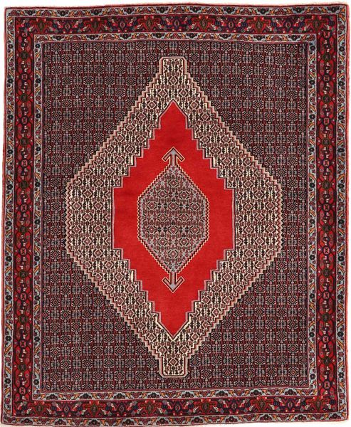 Senneh Rug 127X155 Authentic  Oriental Handknotted Dark Red/Light Purple (Wool, Persia/Iran)