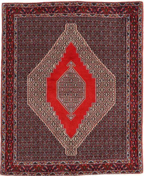 Senneh Matto 127X155 Itämainen Käsinsolmittu Tummanpunainen/Tummanruskea (Villa, Persia/Iran)