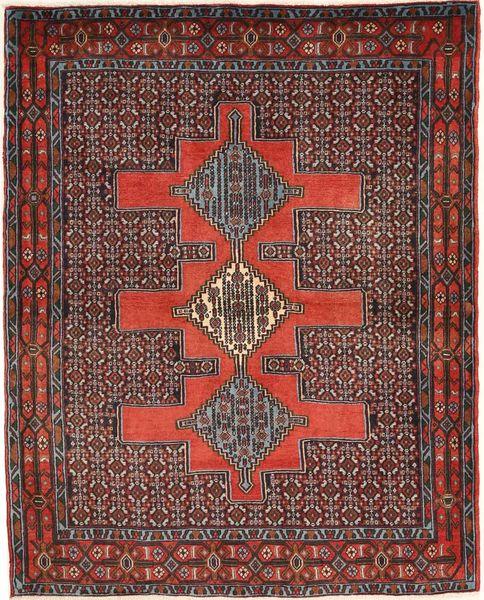 Senneh Matto 125X150 Itämainen Käsinsolmittu Tummanpunainen/Ruoste (Villa, Persia/Iran)