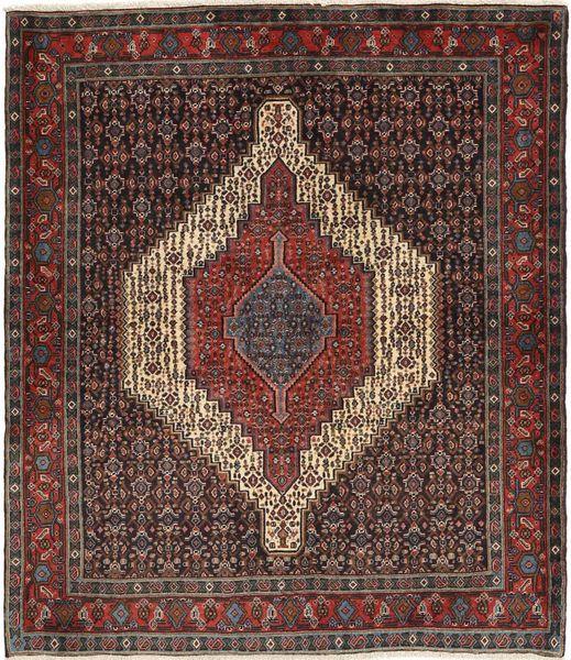 Senneh Matto 127X152 Itämainen Käsinsolmittu Tummanpunainen/Tummanruskea (Villa, Persia/Iran)
