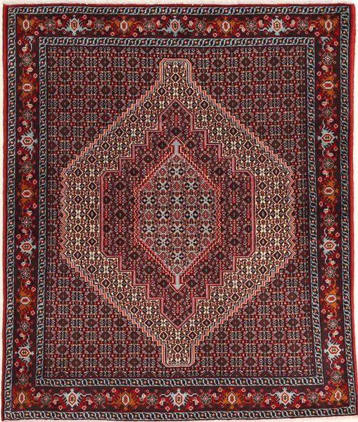 Senneh Matto 123X150 Itämainen Käsinsolmittu Tummanpunainen/Tummanruskea (Villa, Persia/Iran)