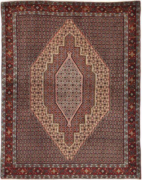Senneh Matto 127X160 Itämainen Käsinsolmittu Tummanruskea/Vaaleanruskea (Villa, Persia/Iran)