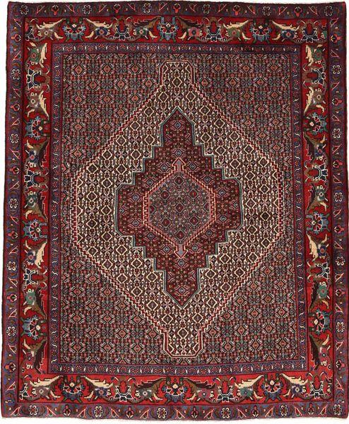 Senneh Matto 125X150 Itämainen Käsinsolmittu Tummanpunainen/Tummanruskea/Vaaleanruskea (Villa, Persia/Iran)