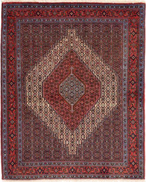 Senneh Matto 122X150 Itämainen Käsinsolmittu Tummanpunainen/Ruskea (Villa, Persia/Iran)