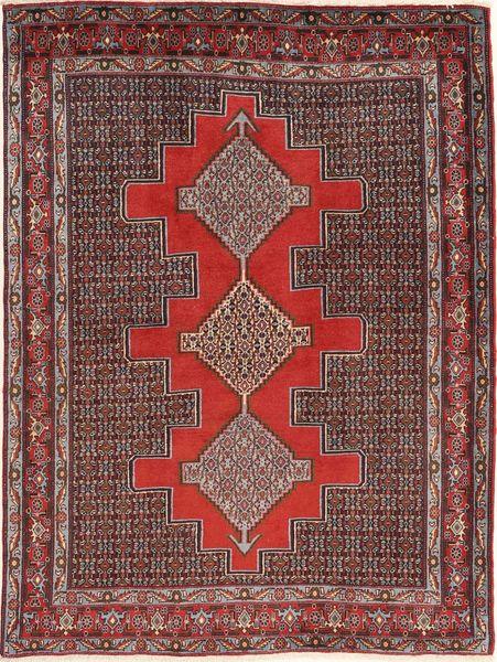 Senneh Tapis 127X171 D'orient Fait Main Rouge Foncé/Marron Foncé (Laine, Perse/Iran)