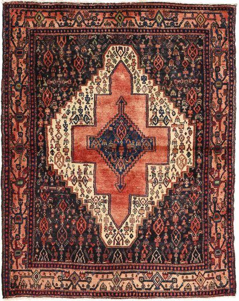 Senneh Tappeto 115X144 Orientale Fatto A Mano Rosso Scuro/Marrone Scuro/Marrone Chiaro (Lana, Persia/Iran)