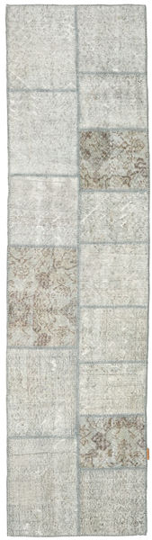 Patchwork Rug 77X298 Authentic  Modern Handknotted Hallway Runner  Light Grey/Beige (Wool, Turkey)