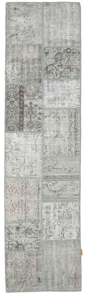 Patchwork Rug 79X302 Authentic  Modern Handknotted Hallway Runner  Light Grey/Turquoise Blue (Wool, Turkey)