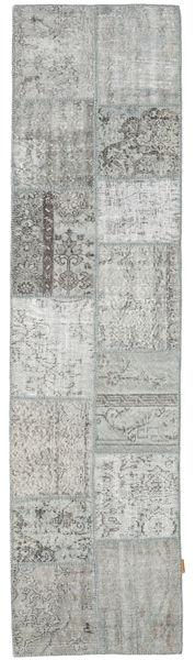 パッチワーク 絨毯 79X302 モダン 手織り 廊下 カーペット 薄い灰色/ターコイズブルー (ウール, トルコ)