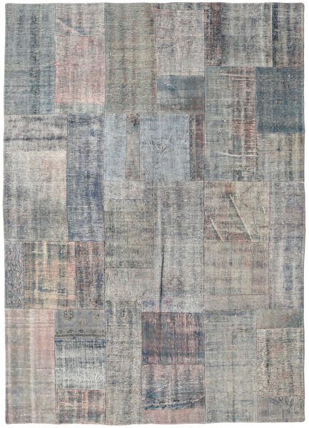 Patchwork Rug 174X243 Authentic  Modern Handknotted Light Grey/Dark Grey (Wool, Turkey)