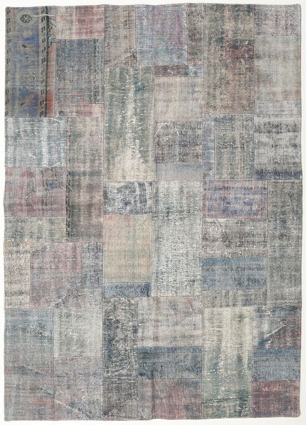 Patchwork Rug 174X242 Authentic  Modern Handknotted Light Grey/Dark Grey (Wool, Turkey)