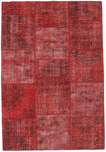 Patchwork Matto 157X231 Moderni Käsinsolmittu Tummanpunainen/Ruskea (Villa, Turkki)