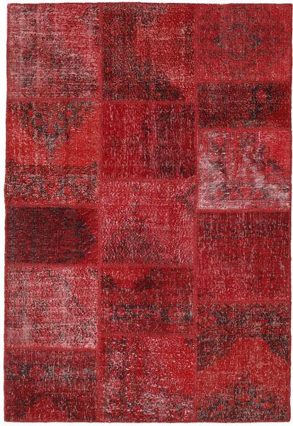Patchwork Teppich  158X231 Echter Moderner Handgeknüpfter Dunkelrot/Rot (Wolle, Türkei)