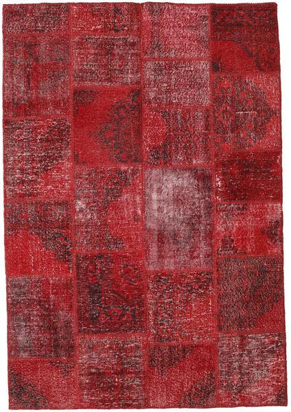 Patchwork Matto 158X231 Moderni Käsinsolmittu Tummanpunainen/Punainen (Villa, Turkki)