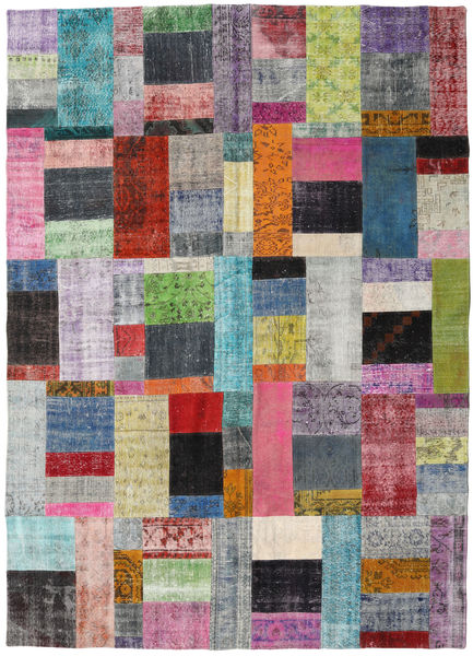 パッチワーク 絨毯 252X350 モダン 手織り 薄い灰色/濃いグレー 大きな (ウール, トルコ)