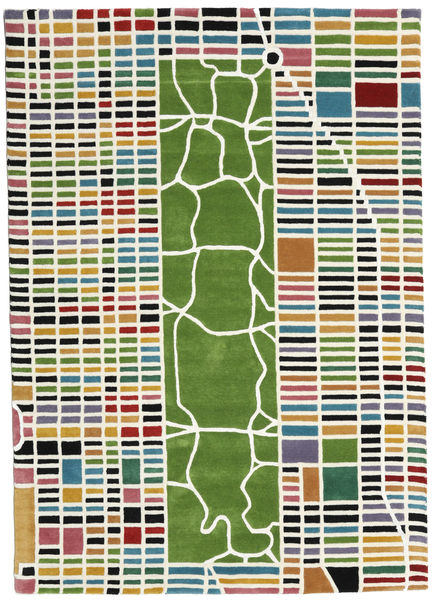 New-York/Manhattan Handtufted - Multi 絨毯 160X230 モダン 深緑色の/ホワイト/クリーム色 (ウール, インド)