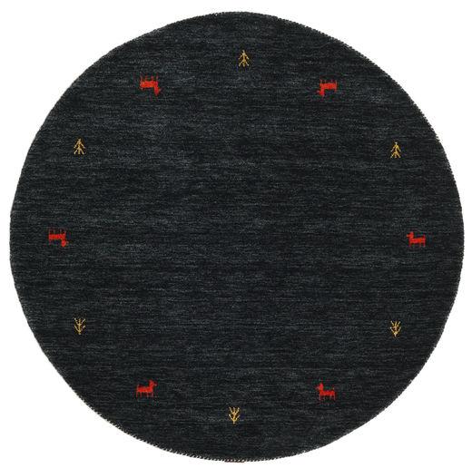 Gabbeh Loom Two Lines - Zwart/Grijs Tapijt Ø 150 Modern Rond Zwart (Wol, India)
