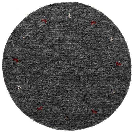 Gabbeh Loom Two Lines - Medium Grijs Tapijt Ø 150 Modern Rond Donkergrijs/Blauw (Wol, India)
