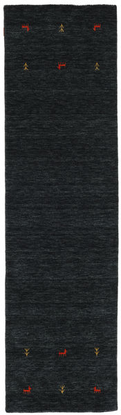 Gabbeh Loom Two Lines - Negru/Gri Covor 80X300 Modern Negru (Lână, India)