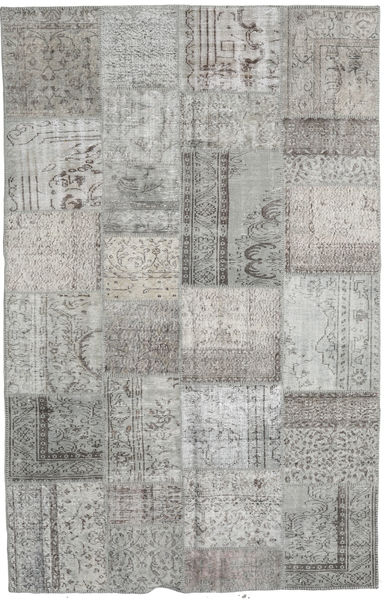 Patchwork Rug 195X305 Authentic  Modern Handknotted Light Grey/Dark Grey (Wool, Turkey)