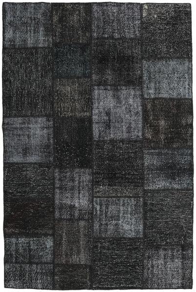 Patchwork Matto 197X298 Moderni Käsinsolmittu Musta/Tummanharmaa (Villa, Turkki)