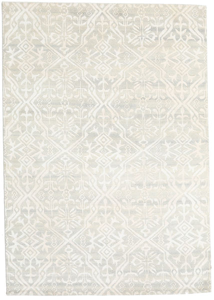 Himalaya Tapis 168X238 Moderne Fait Main Beige Foncé/Beige (Laine/Soie De Bambou, Inde)