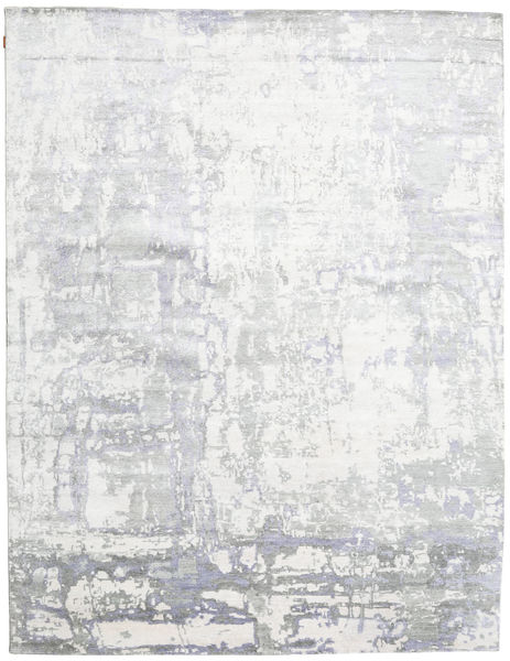Himalaya Bamboo Silk Rug 276X398 Authentic  Modern Handknotted White/Creme/Light Grey Large ( India)